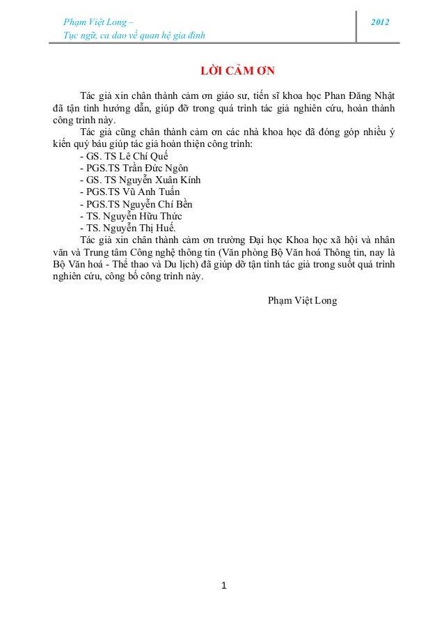 Phạm Việt Long –                                                          2012  Tục ngữ, ca dao về quan hệ gia đình       ...