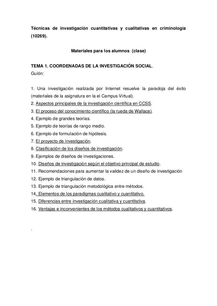 Técnicas de investigación cuantitativas y cualitativas en criminología(10269).                     Materiales para los alu...