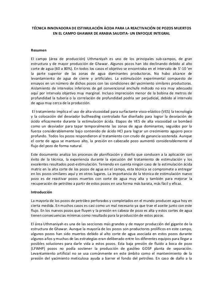 TÉCNICA INNOVADORA DE ESTIMULACIÓN ÁCIDA PARA LA REACTIVACIÓN DE POZOS MUERTOS           EN EL CAMPO GHAWAR DE ARABIA SAUD...