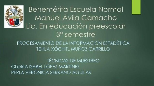 Benemérita Escuela Normal Manuel Ávila Camacho Lic. En educación preescolar 3° semestre PROCESAMIENTO DE LA INFORMACIÓN ES...