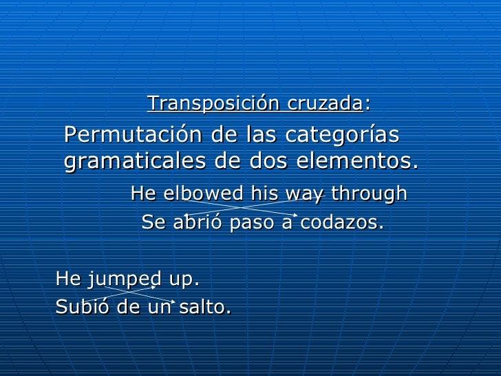 <ul><ul><li>Transposición cruzada :   </li></ul></ul><ul><li>Permutación de las categorías gramaticales de dos elementos. ...