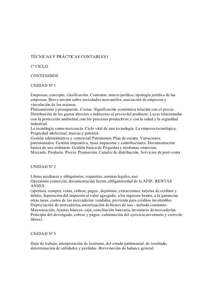 TÉCNICAS Y PRÁCTICAS CONTABLES I  1º CICLO  CONTENIDOS  UNIDAD Nº 1  Empresas, concepto, clasificación. Contratos, marco j...