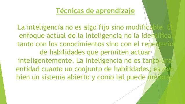 Técnicas de aprendizaje La inteligencia no es algo fijo sino modificable. El enfoque actual de la inteligencia no la ident...