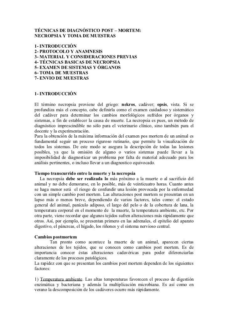 TÉCNICAS DE DIAGNÓSTICO POST – MORTEM:NECROPSIA Y TOMA DE MUESTRAS1- INTRODUCCIÓN2- PROTOCOLO Y ANAMNESIS3- MATERIAL Y CON...