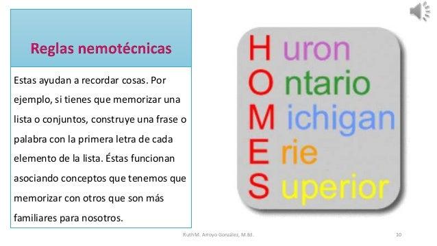 Estas ayudan a recordar cosas. Por ejemplo, si tienes que memorizar una lista o conjuntos, construye una frase o palabra c...