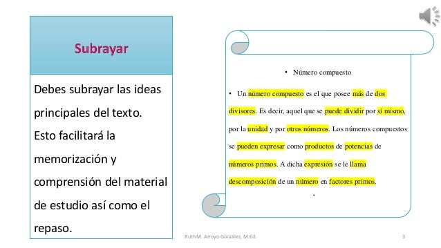 Debes subrayar las ideas principales del texto. Esto facilitará la memorización y comprensión del material de estudio así ...