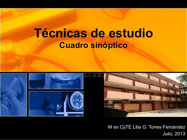 Técnicas de estudio Cuadro sinóptico M en CyTE Lilia G. Torres Fernández Julio, 2013