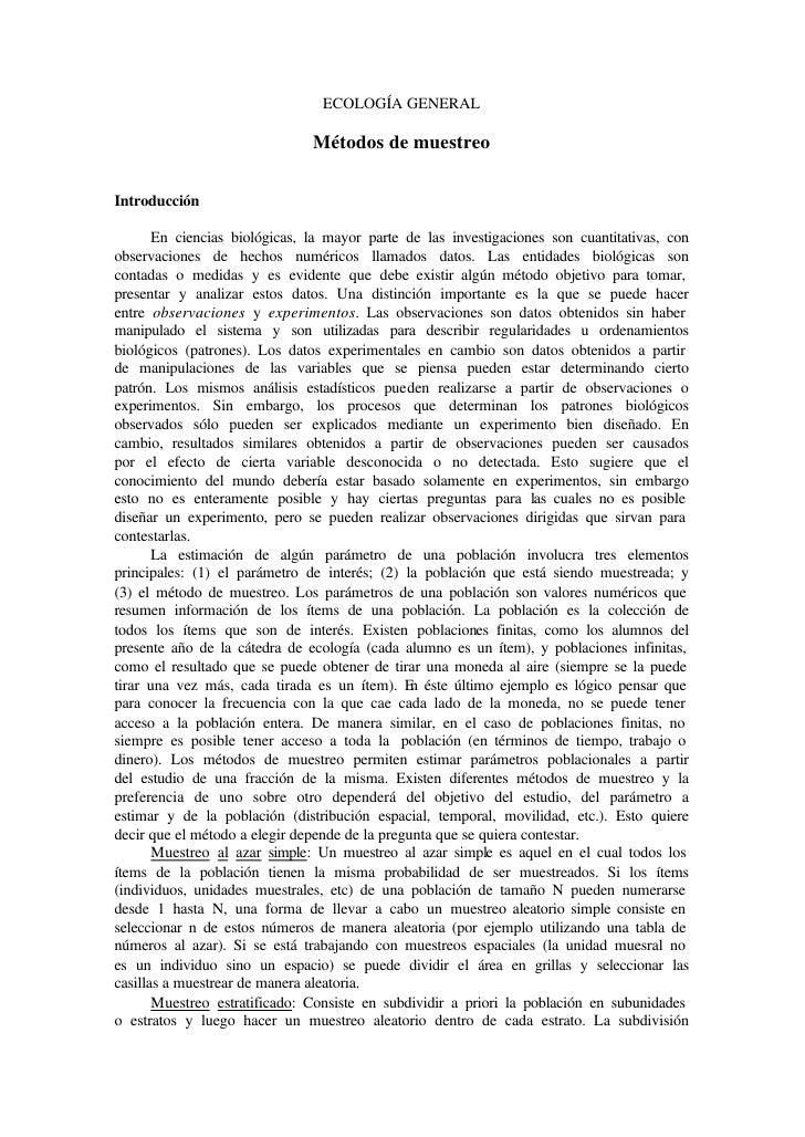 ECOLOGÍA GENERAL                                 Métodos de muestreo   Introducción         En ciencias biológicas, la may...