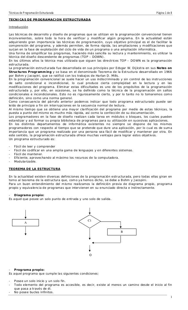 Técnicas de Programación Estructurada Página 1 de 8 TECNICAS DE PROGRAMACION ESTRUCTURADA Introducción Las técnicas de des...