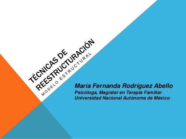 María Fernanda Rodríguez Abello Psicóloga, Magister en Terapia Familiar Universidad Nacional Autónoma de México