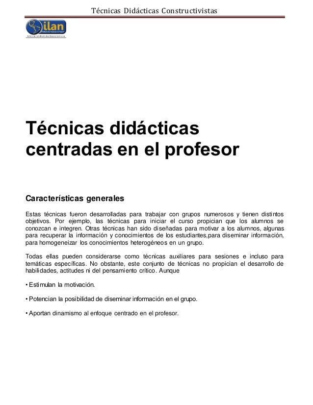 Técnicas didácticas cosntrucitvistas