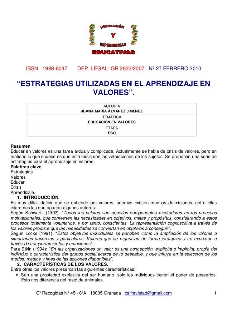 "ISSN 1988-6047            DEP. LEGAL: GR 2922/2007 Nº 27 FEBRERO 2010   ""ESTRATEGIAS UTILIZADAS EN EL APRENDIZAJE EN      ..."
