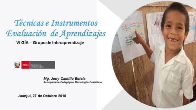 Técnicas e instrumentos de evaluación aprendizajes