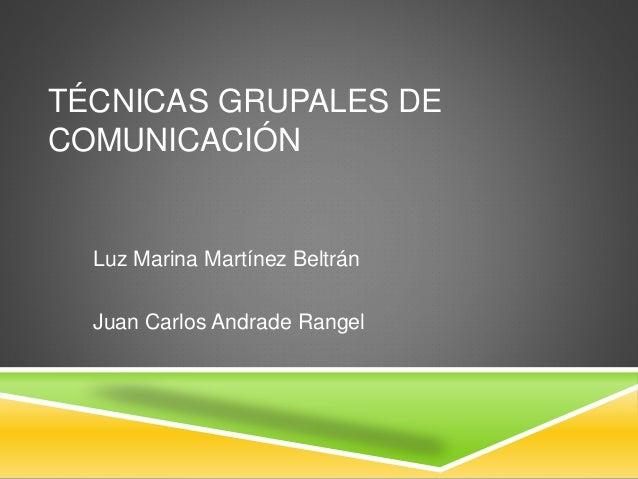 TÉCNICAS GRUPALES DE  COMUNICACIÓN  Luz Marina Martínez Beltrán  Juan Carlos Andrade Rangel