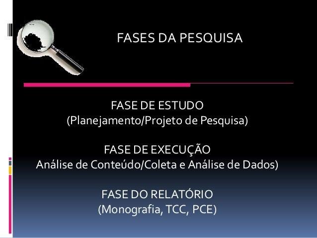 FASES DA PESQUISA  FASE DE ESTUDO (Planejamento/Projeto de Pesquisa) FASE DE EXECUÇÃO Análise de Conteúdo/Coleta e Análise...