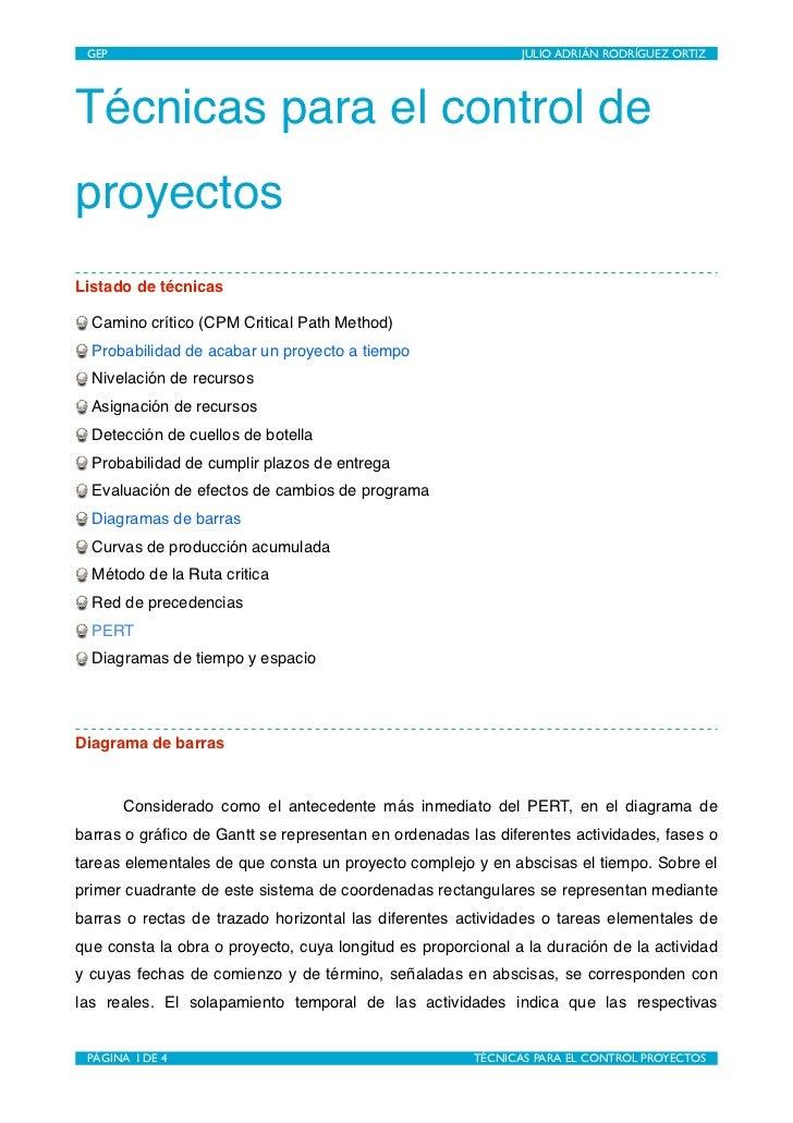 GEP                                                     JULIO ADRIÁN RODRÍGUEZ ORTIZTécnicas para el control deproyectosLi...