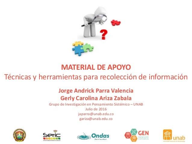 MATERIAL DE APOYO Técnicas y herramientas para recolección de información Jorge Andrick Parra Valencia Gerly Carolina Ariz...