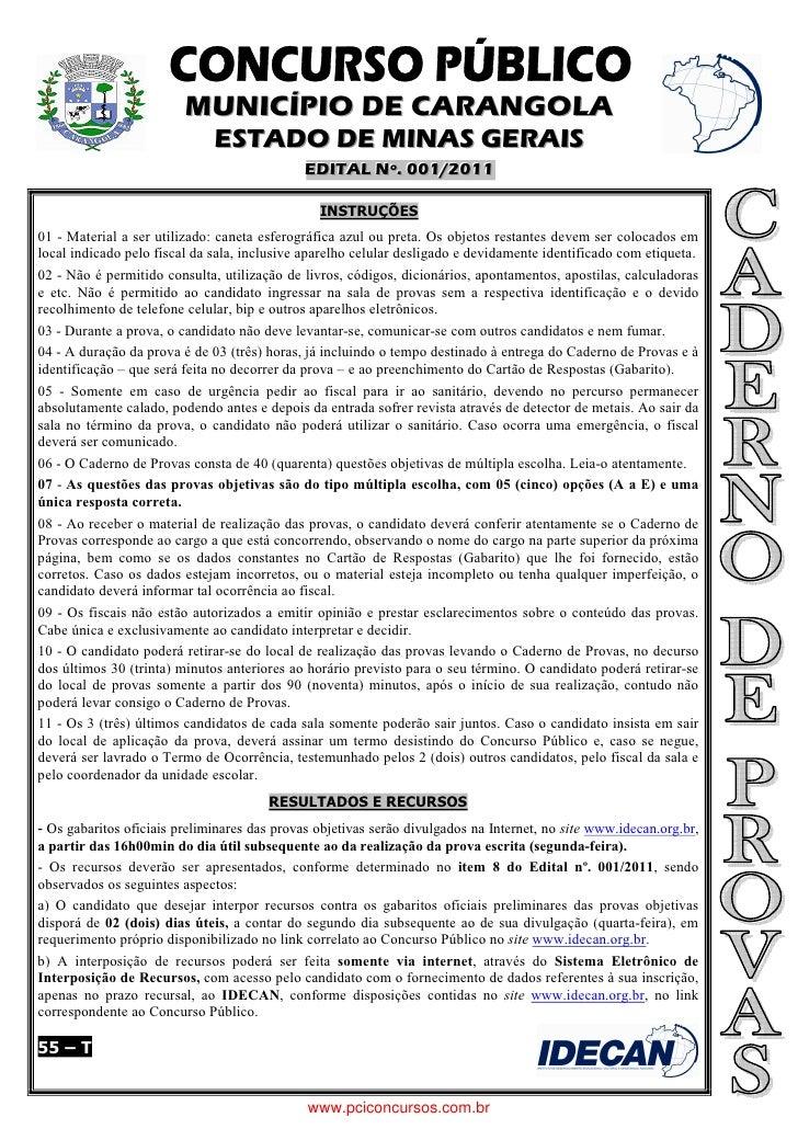 MUNICÍPIO DE CARANGOLA                              ESTADO DE MINAS GERAIS                                             EDI...