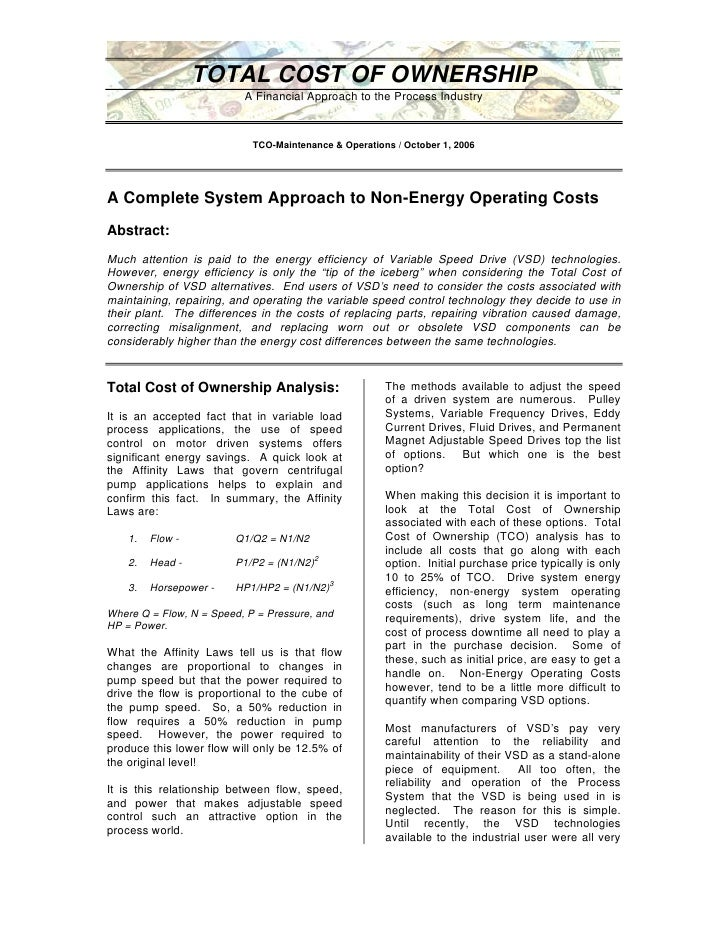 TOTAL COST OF OWNERSHIP                           A Financial Approach to the Process Industry                            ...