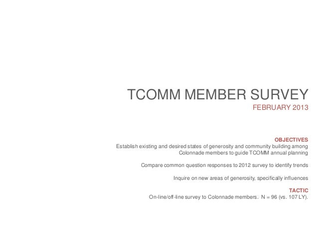 TCOMM MEMBER SURVEY FEBRUARY 2013  OBJECTIVES Establish existing and desired states of generosity and community building a...