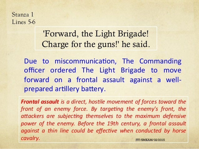 essay on the charge of the light brigade The poem the charge of the light brigade by alfred, lord tennyson is a narrative poem about war, or, more specifically, about the role played in a war by a.