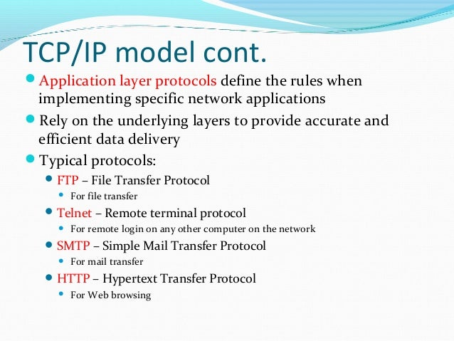 5 tcp ip model its The purpose of tcp/ip is to make it easier for computers to communicate with one another to send information over the internet it is a set of protocols that computers use so that they essentially speak the same language when passing information.