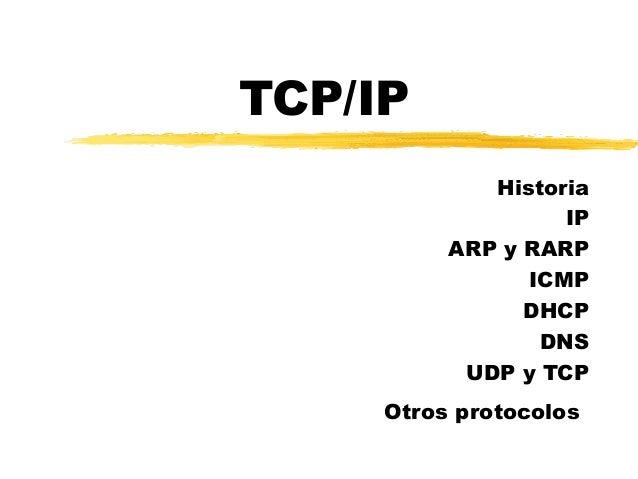 TCP/IP Historia IP ARP y RARP ICMP DHCP DNS UDP y TCP Otros protocolos
