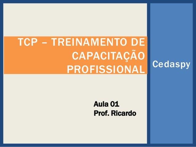 TCP – TREINAMENTO DE CAPACITAÇÃO Cedaspy PROFISSIONAL Aula 01 Prof. Ricardo