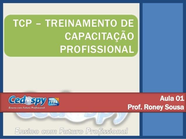 TCP – TREINAMENTO DE CAPACITAÇÃO PROFISSIONAL  Aula 01 Prof. Roney Sousa