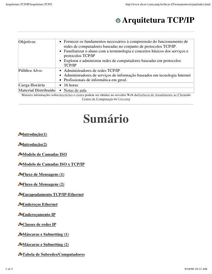 Arquitetura TCP/IPArquitetura TCP/I                                                  http://www.dicas-l.unicamp.br/dicas-l...