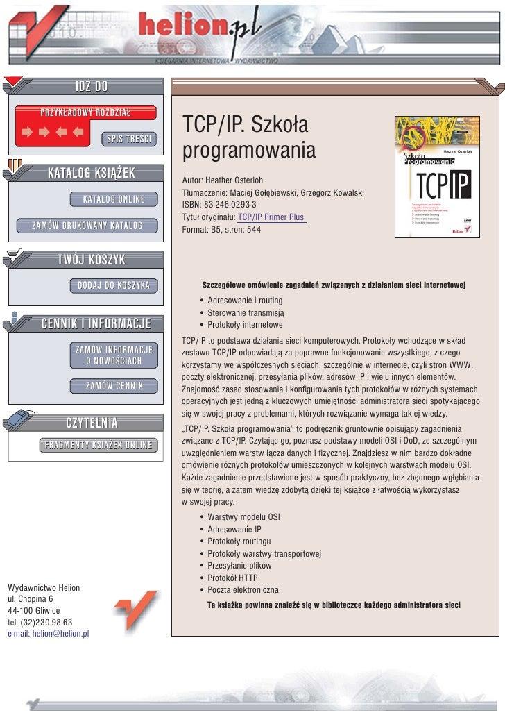 IDZ DO          PRZYK£ADOWY ROZDZIA£                             SPIS TREŒCI                                          TCP/...
