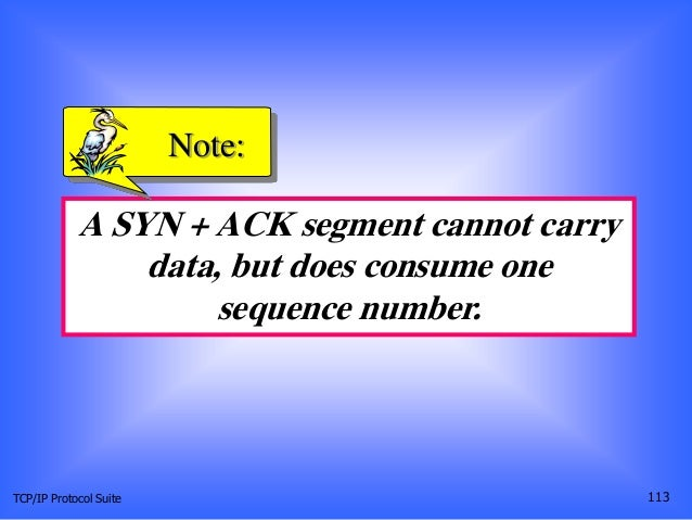 TCP/IP Protocol Suite 113 A SYN + ACK segment cannot carry data, but does consume one sequence number. Note: