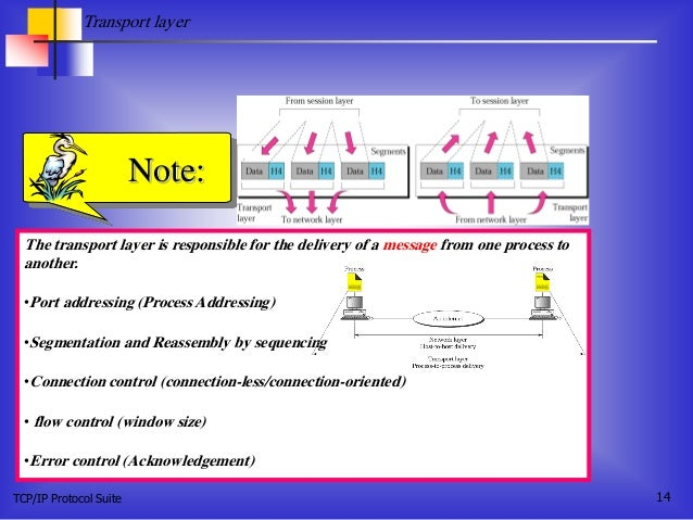 TCP/IP Protocol Suite 14 The transport layer is responsible for the delivery of a message from one process to another. •Po...