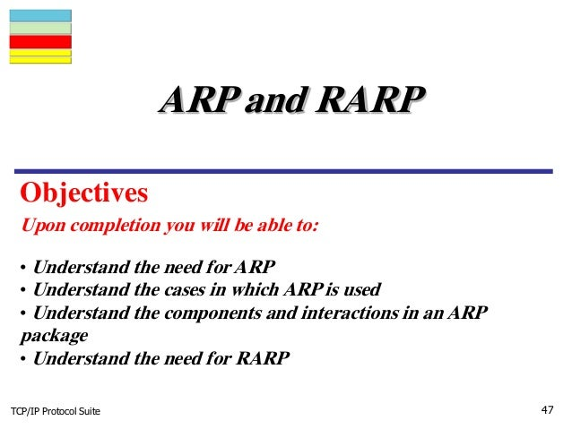 TCP/IP Protocol Suite 47 Upon completion you will be able to: ARP and RARP • Understand the need for ARP • Understand the ...
