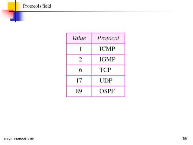 TCP/IP Protocol Suite 65 Protocols field