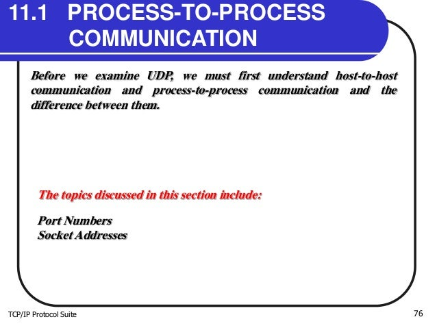 TCP/IP Protocol Suite 76 11.1 PROCESS-TO-PROCESS COMMUNICATION Before we examine UDP, we must first understand host-to-hos...
