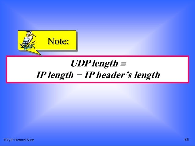 TCP/IP Protocol Suite 85 UDP length = IP length − IP header's length Note: