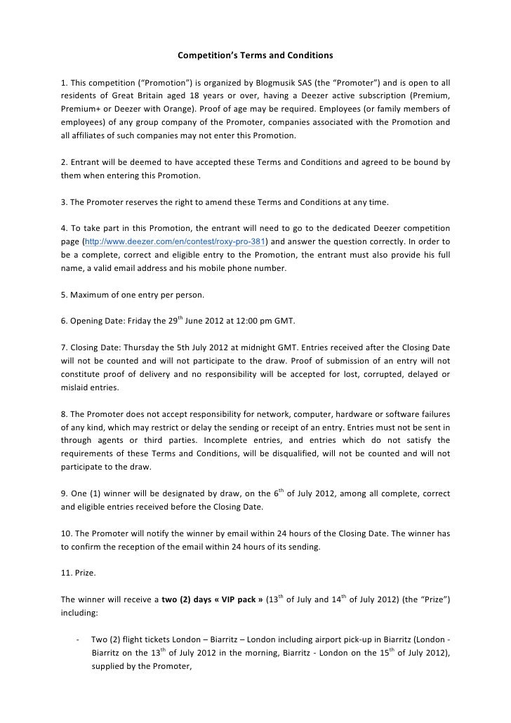 "Competition's	  Terms	  and	  Conditions	  	  1.	  This	  competition	  (""Promotion"")	  is	  organized	  by	  Blogmusik	  ..."