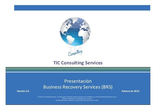TIC Consulting Services                                    Presentación                          Business Recovery Service...