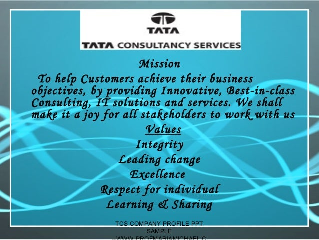 Tcs company profile presentation sample – Samples of Business Profiles