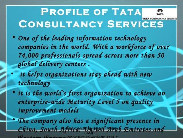 Tcs company profile presentation sample for Design consultancy company profile