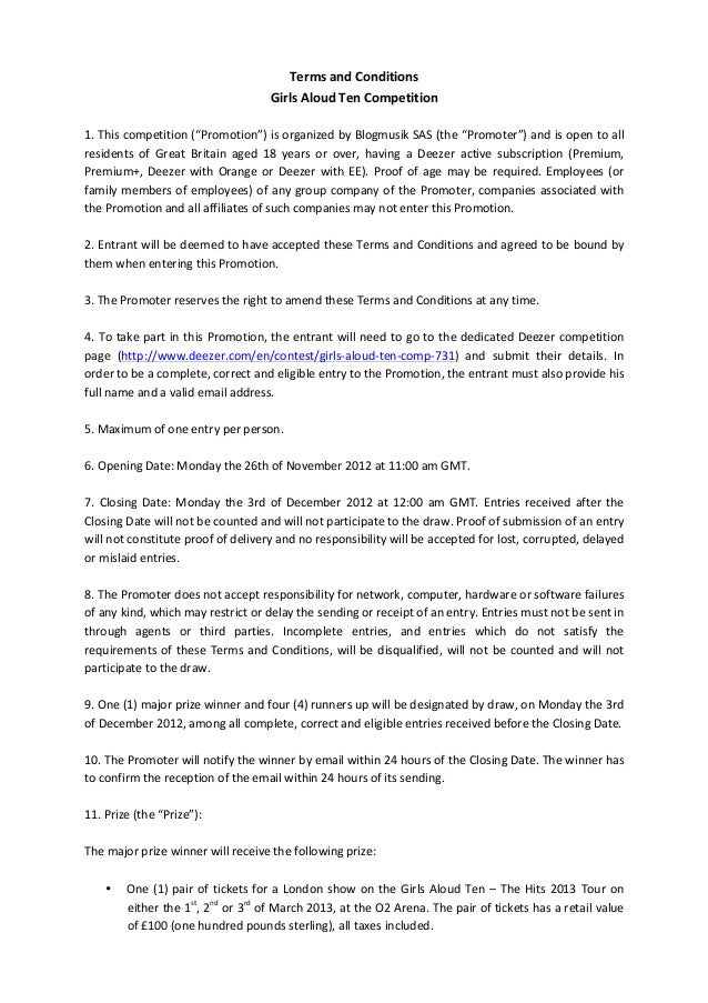 Terms	  and	  Conditions	                                                               Girls	  Aloud	  Ten	  Competition	...