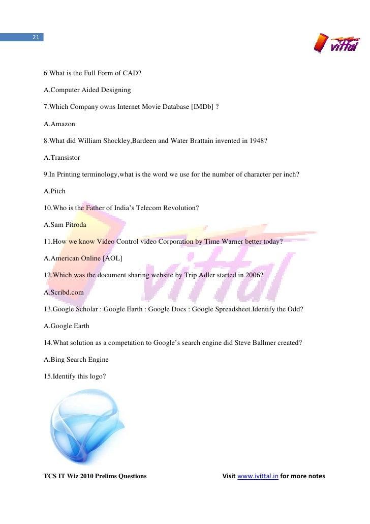 TCS IT WIZ 2010 Prelims Questions