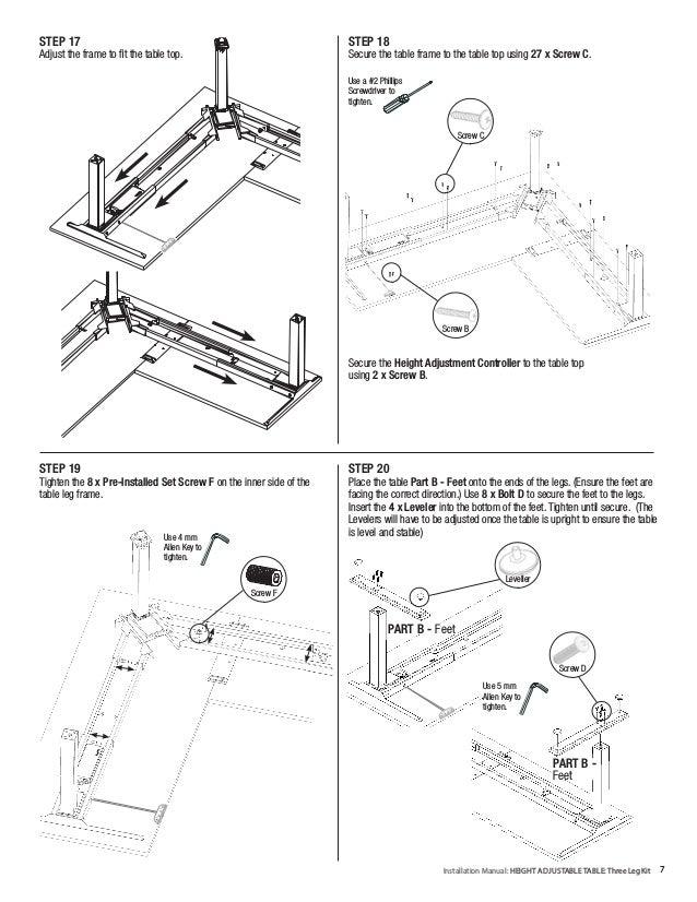 Installation Manual Height Adjustable Table