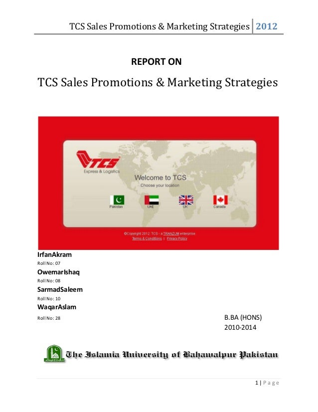TCS Sales Promotions & Marketing Strategies 2012                            REPORT ONTCS Sales Promotions & Marketing Stra...