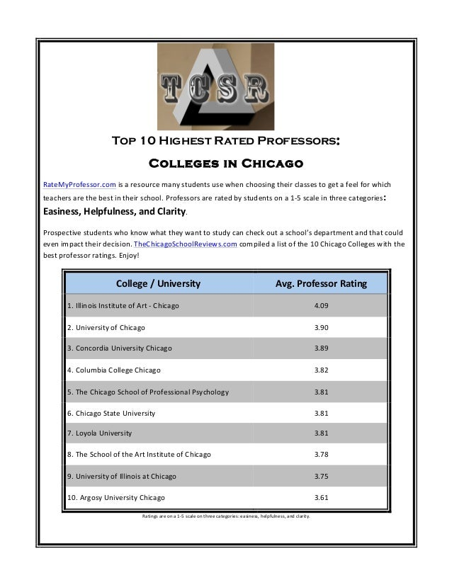 Top 10 Highest Rated Professors: Colleges in Chicago RateMyProfessor.com  is  a  resource  many  students  u...
