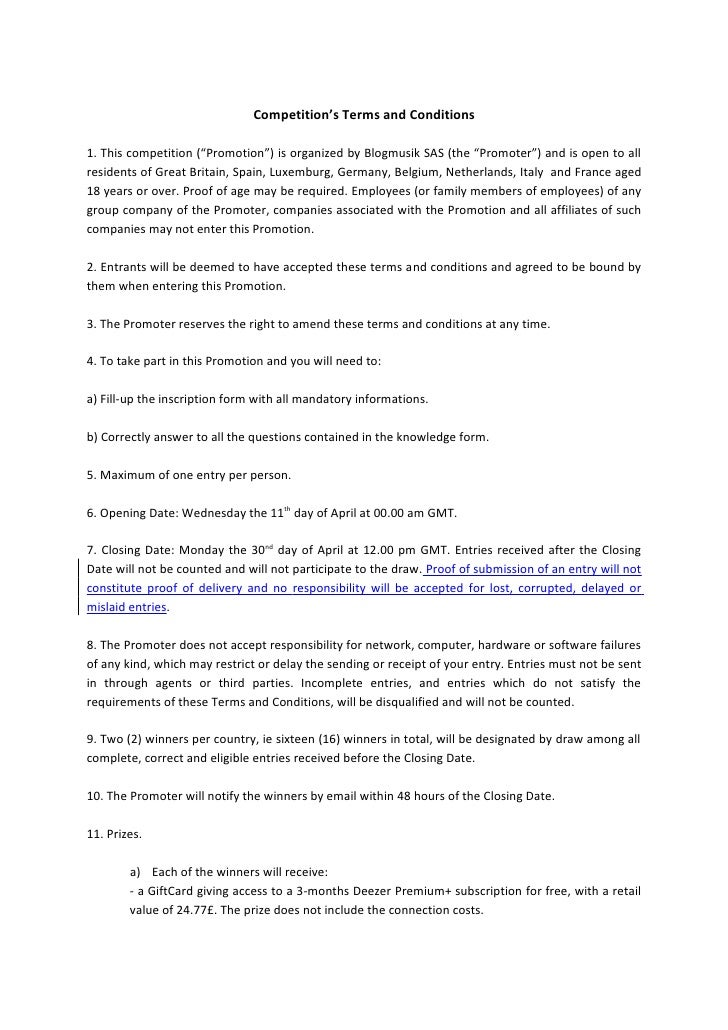 """Competition's Terms and Conditions1. This competition (""""Promotion"""") is organized by Blogmusik SAS (the """"Promoter"""") and is ..."""