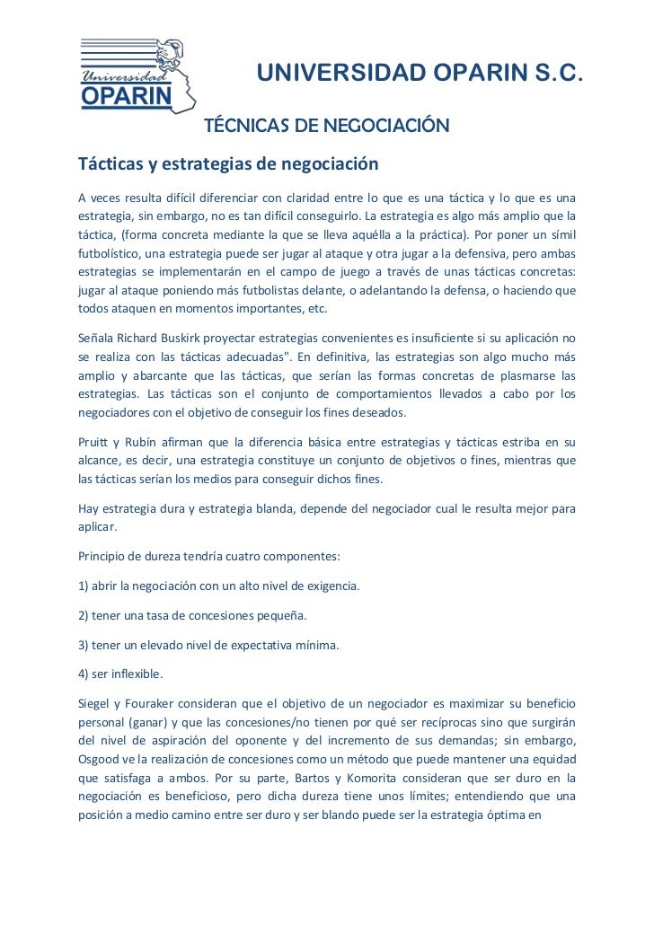 UNIVERSIDAD OPARIN S.C.                        TÉCNICAS DE NEGOCIACIÓNTácticas y estrategias de negociaciónA veces resulta...