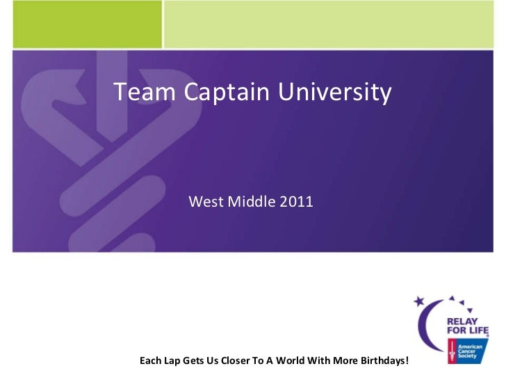 Each Lap Gets Us Closer To A World With More Birthdays! Team Captain University West Middle 2011
