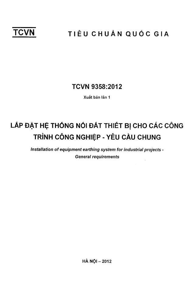 TCVN 9358-2012. Lắp đặt hệ thống nối đất thiết bị cho các công trình công nghiệp - Yêu cầu chung